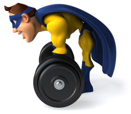 Cartoon superhero lifting a barbell Stock Photo