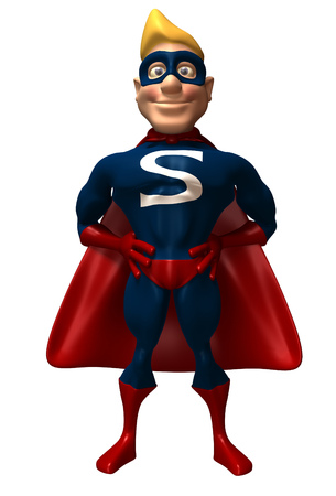Cartoon superhero standing