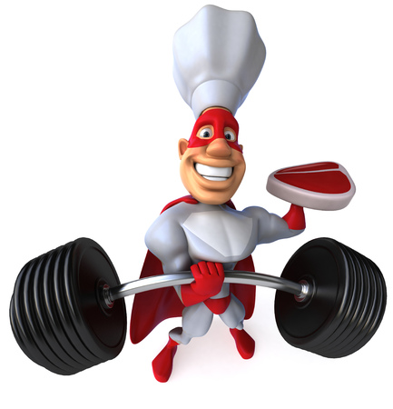Cartoon superhero with chef hat holding a steak and barbell