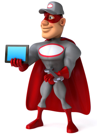 Cartoon superhero with wrench showing a tablet computer