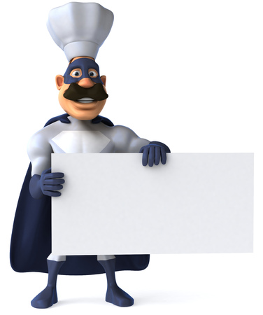 digitally generated image: Cartoon superhero with chef hat holding a signboard