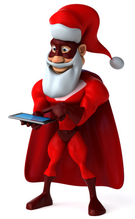 digitally generated image: Cartoon superhero with santa hat and beard using a tablet computer Stock Photo