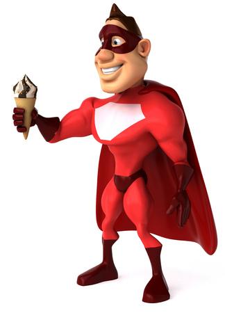length: Cartoon superhero holding an ice cream Stock Photo