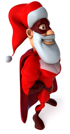 digitally generated image: Cartoon superhero with santa hat and beard standing