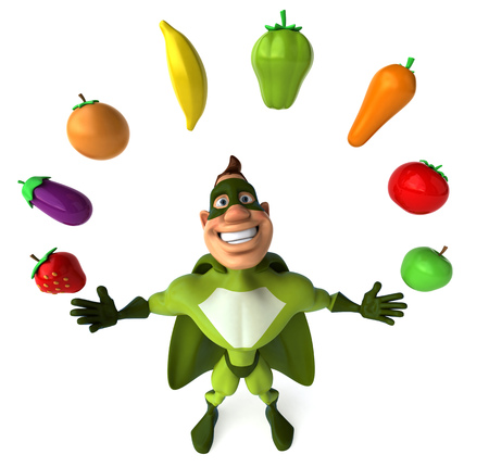 Cartoon superhero with fruits and vegetables