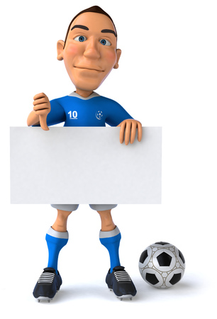 length: Cartoon soccer player holding a signboard with thumbs down gesture