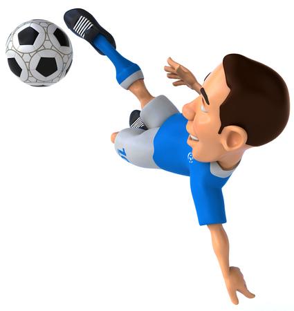 Jogador de futebol de desenho animado com futebol