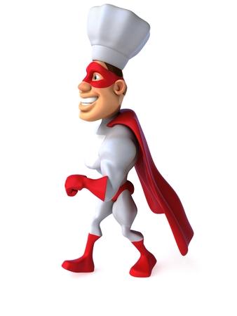 length: Cartoon superhero with chef hat walking