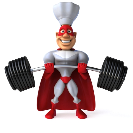 length: Cartoon superhero with chef hat lifting a barbell Stock Photo