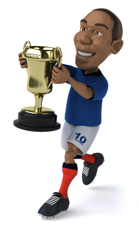 jersey: Cartoon soccer player holding a trophy