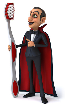 Cartoon vampire holding and pointing to a toothbrush