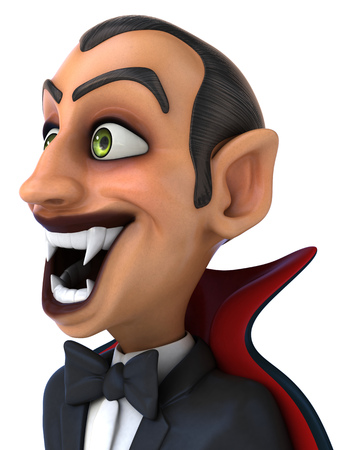 sucking: Close-up on a cartoon vampire