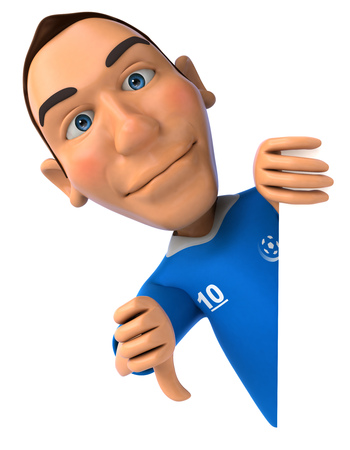 Cartoon soccer player showing thumbs down gesture Stock Photo