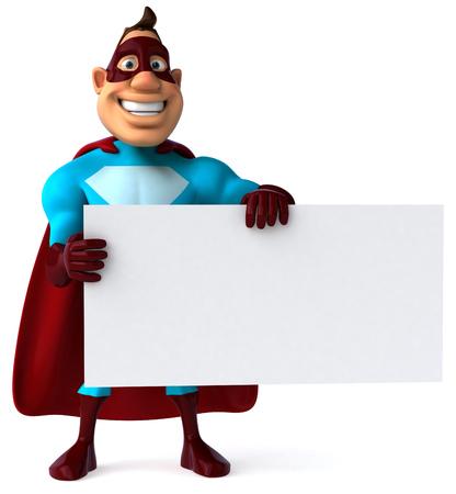 length: Cartoon superhero holding a signboard