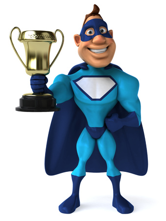 digitally generated image: Cartoon superhero with a trophy
