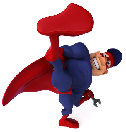 Cartoon superhero with wrench kicking