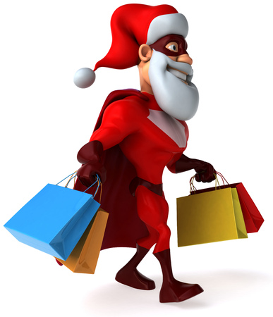 digitally generated image: Cartoon superhero with santa hat and beard holding shopping bags