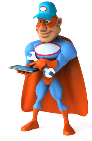Cartoon superhero with wrench using tablet computer