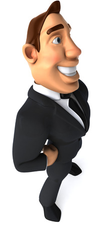 length: Cartoon businessman standing