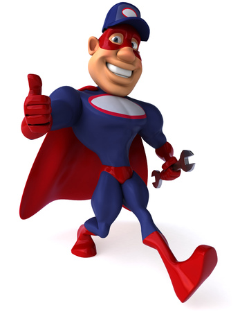 digitally generated image: Cartoon superhero with wrench showing thumbs up gesture Stock Photo