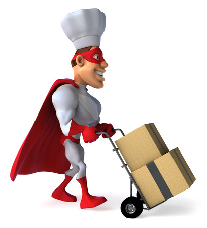 Cartoon superhero with chef hat pushing a trolley with boxes