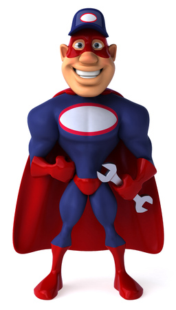 length: Cartoon superhero with wrench standing and smiling Stock Photo