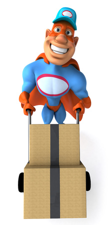 Cartoon superhero pushing a trolley with boxes