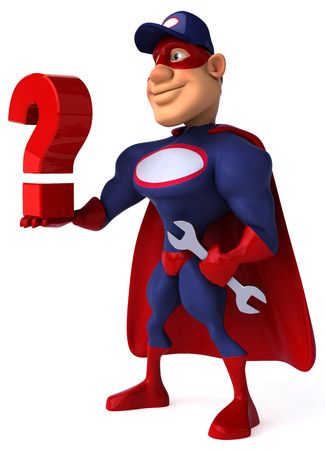 Cartoon superhero with wrench holding a question mark