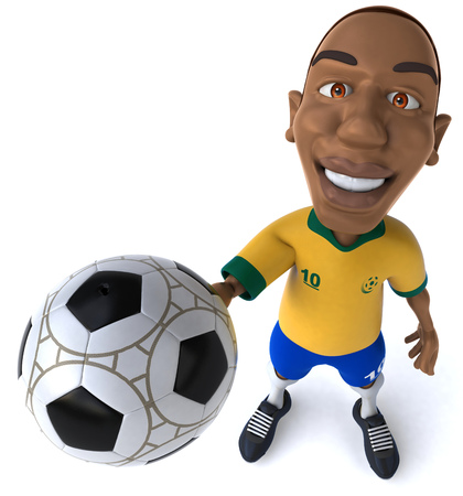 digitally generated image: Cartoon soccer player showing a football