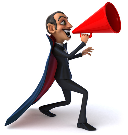 Cartoon vampire shouting into megaphone Stock Photo