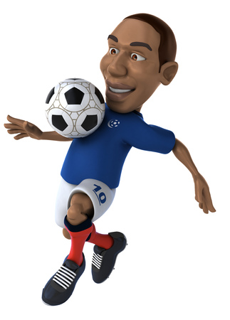 digitally generated image: Cartoon soccer player with football