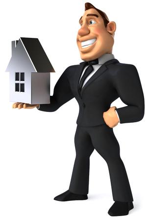 length: Cartoon businessman holding a house