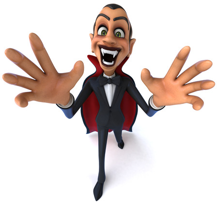 fangs: Cartoon vampire baring fangs Stock Photo