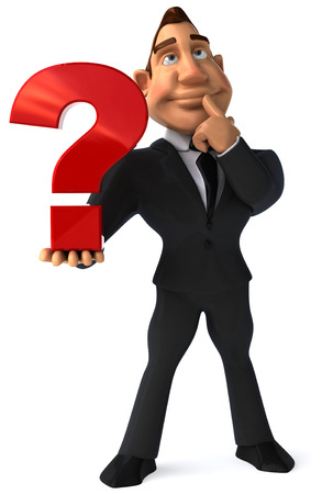 digitally generated image: Cartoon businessman showing a question mark