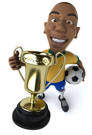 Cartoon soccer player showing a trophy