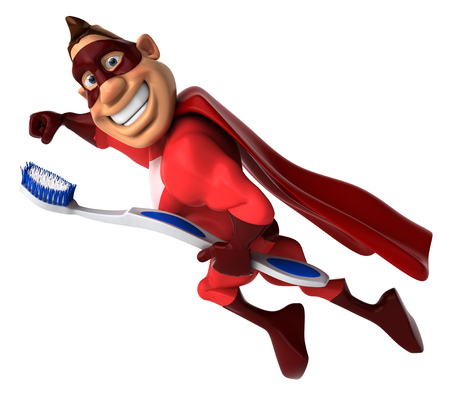 bristles: Cartoon superhero with a toothbrush flying