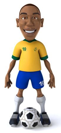 Cartoon soccer player with football