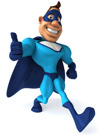 digitally generated image: Cartoon superhero showing thumbs up gesture Stock Photo