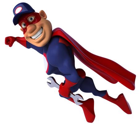 Cartoon superhero with wrench flying Stock Photo