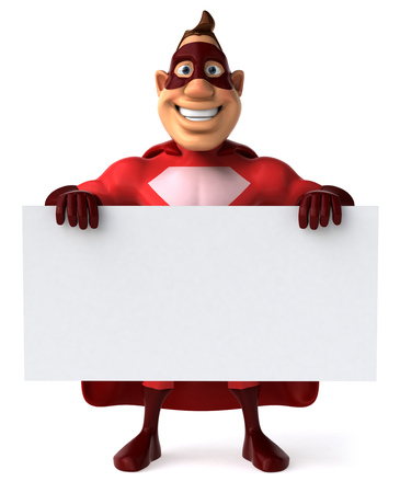 digitally generated image: Cartoon superhero holding a signboard