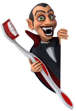 Cartoon vampire with a toothbrush Фото со стока
