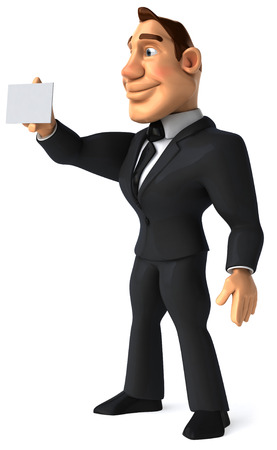 Cartoon businessman showing a name card Stock Photo