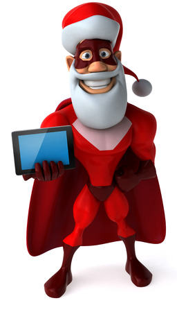 Cartoon superhero with santa hat and beard showing a tablet computer