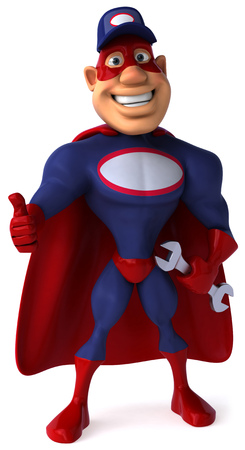 Cartoon superhero with wrench showing thumbs up gesture Stock Photo