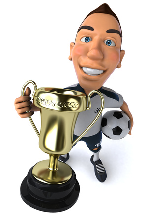 Cartoon soccer player with football showing a trophy