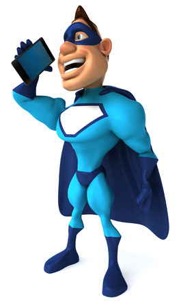digitally generated image: Cartoon superhero talking to a smartphone