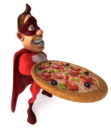 Cartoon superhero showing a pizza