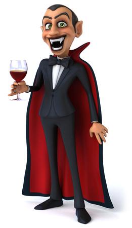 Cartoon vampire with a glass of wine Stock Photo