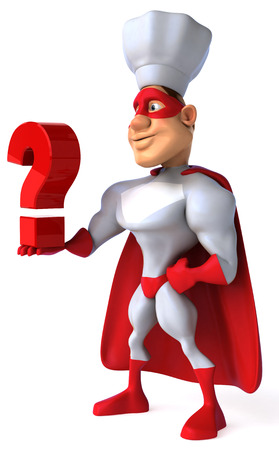 Cartoon superhero with chef hat holding a question mark
