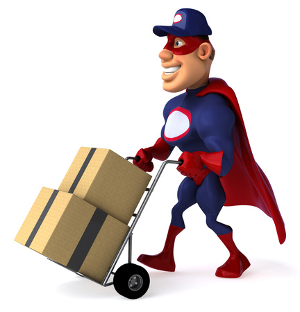 digitally generated image: Cartoon superhero pushing a trolley with boxes